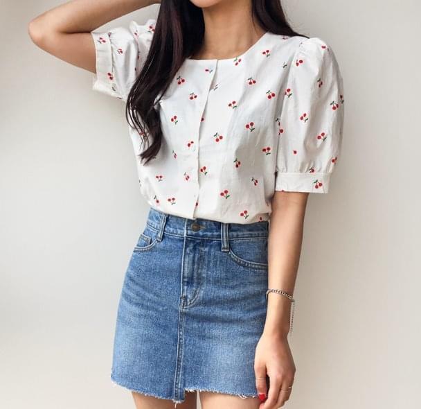 Square cherry blouse
