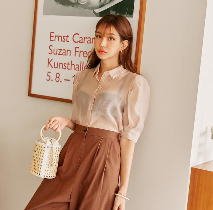 ROSSI PUFF SEETHROUGH 1/2 BLOUSE