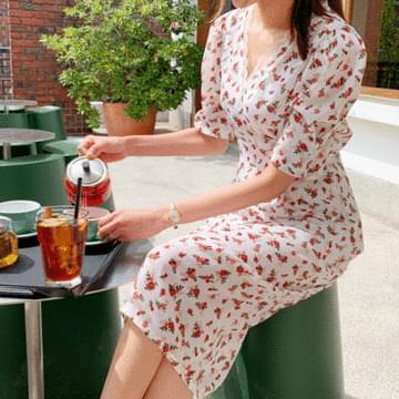Rose Puff Long Dress