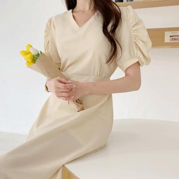 Riz Shearing Puff Long Dress