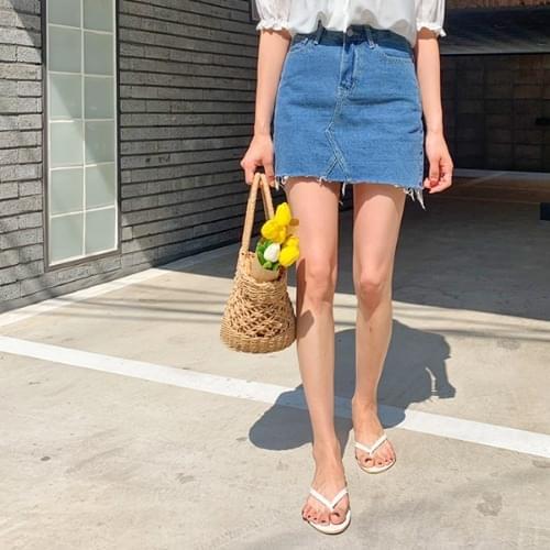 Lai denim mini skirt
