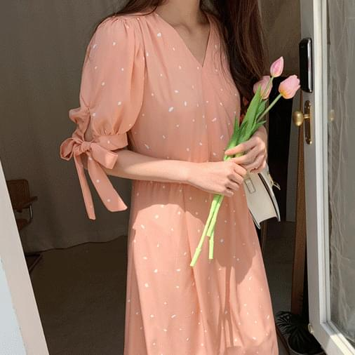 Urban pink dot long dress