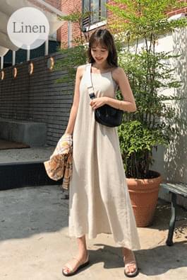 Holter strap linen dress