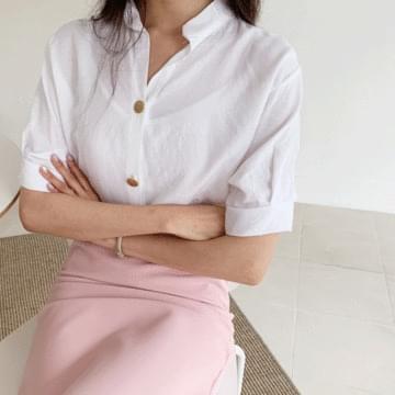 Boa Henry neck blouse