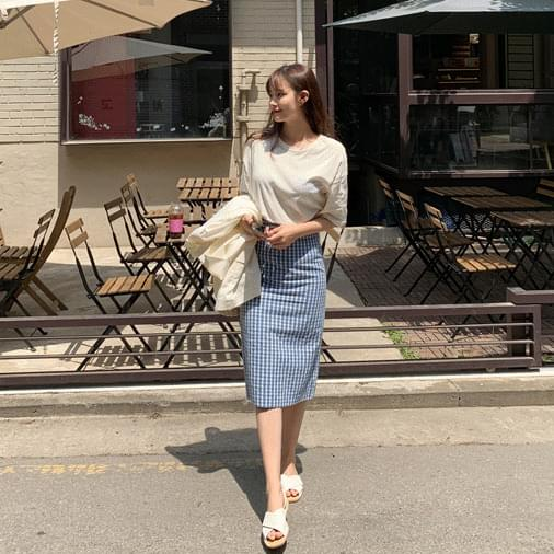 Linen melon check midi skirt