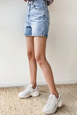 Mini slit denim shorts