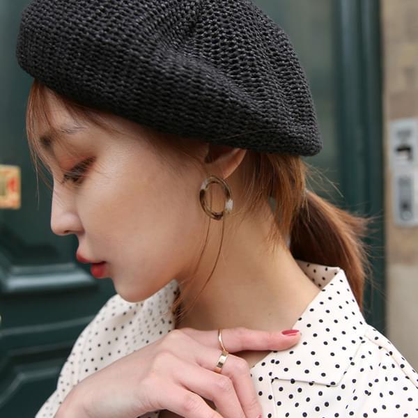 Oval Marble Earring