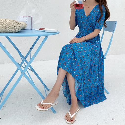 Blue Flower Long Dress