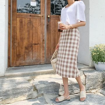 Linen Vix check skirt