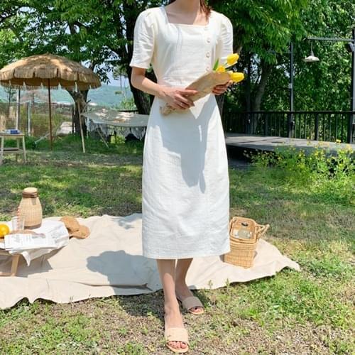 Linen Square Butting Dress