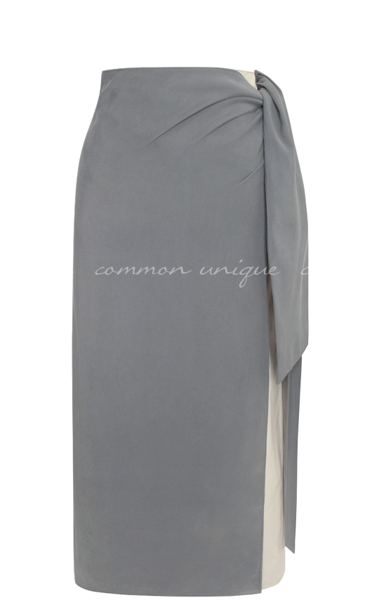 MUZIT RAYON TWO TONE WRAP SKIRT