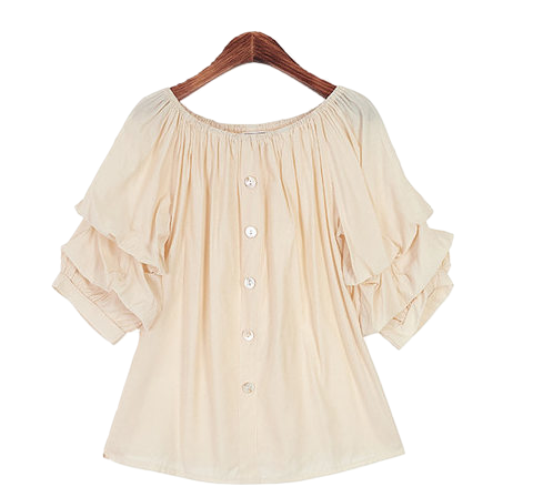 Ruffle Sleeve Off-Shoulder Blouse