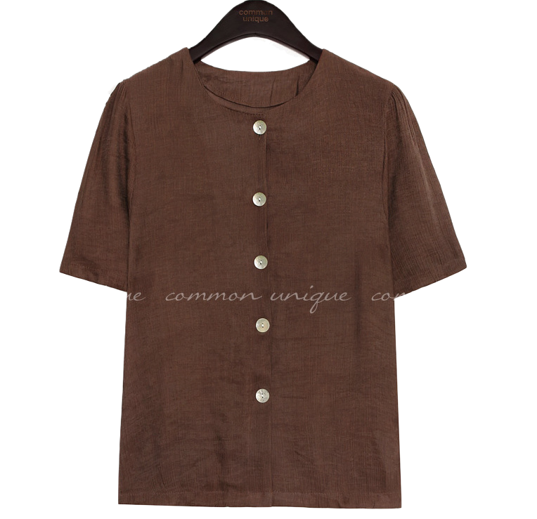 JEFF WRINKLE SHELL BUTTON 1/2 BLOUSE