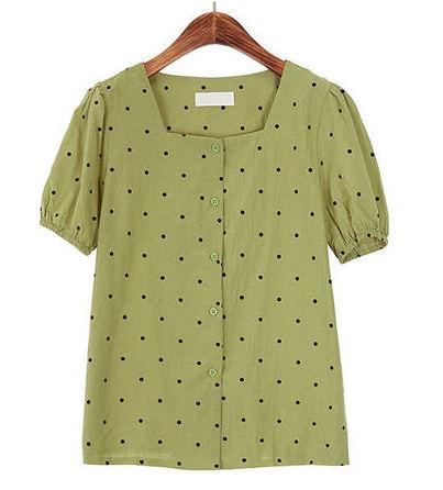 Square neck dot short sleeve blouse