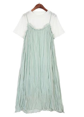 Basic T-shirt + ruffle dress 2SET