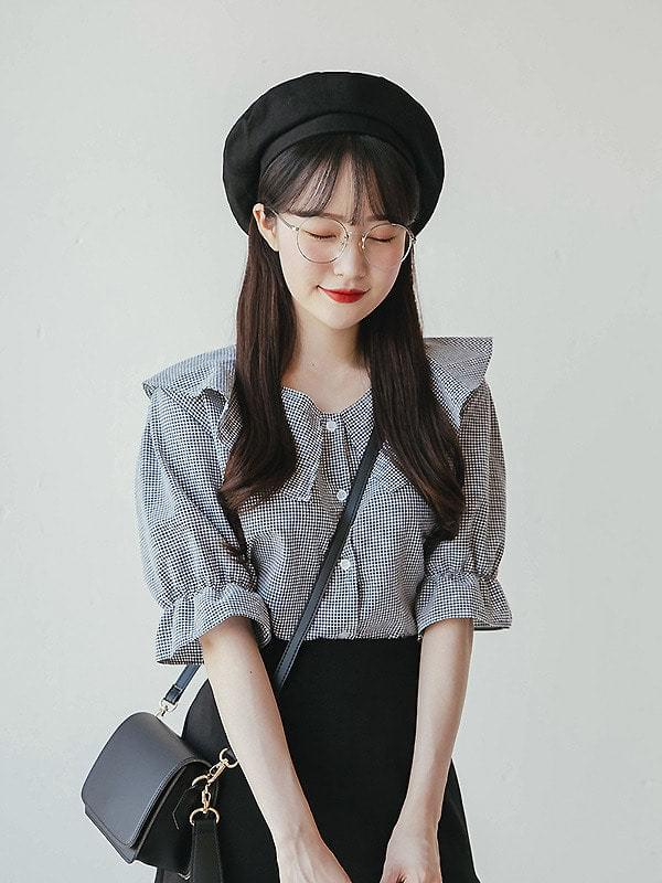 Serra check short sleeve blouse