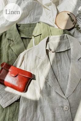 Linen short-sleeved jacket
