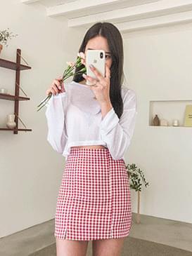 Top lie check mini skirt