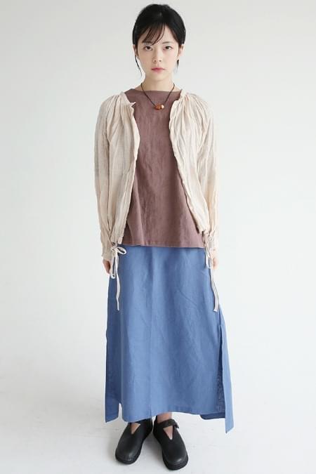 side slit detail linen skirts