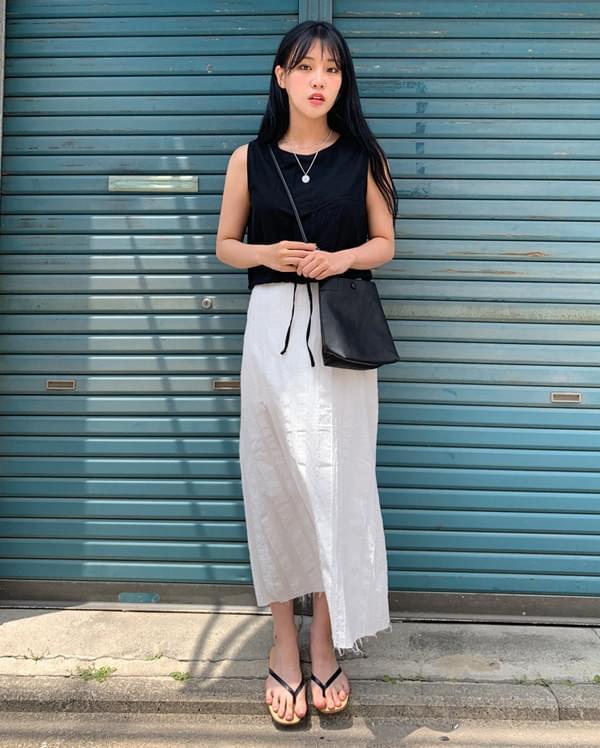 marine cutting linen long skirt
