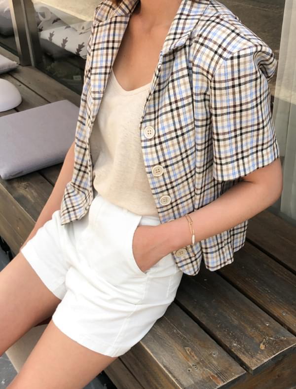 vintage check crop jacket