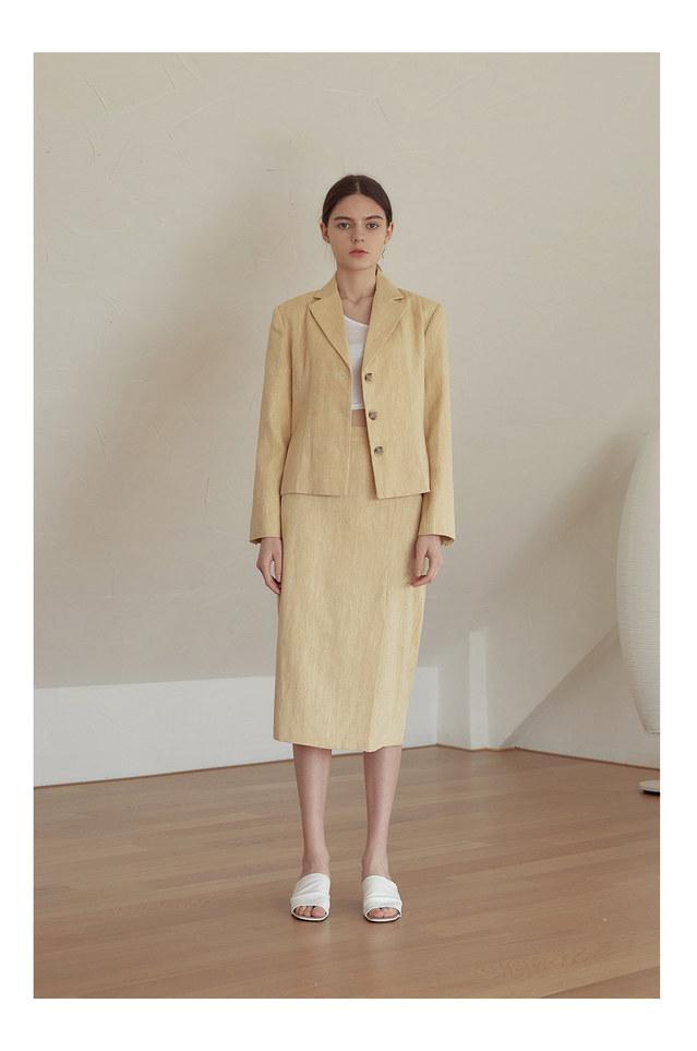 apron herringbone linen slit skirt