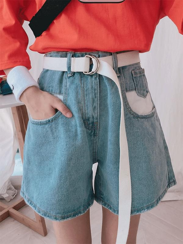 Two-tone pocket denim shorts