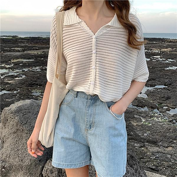 See-through short sleeve knit