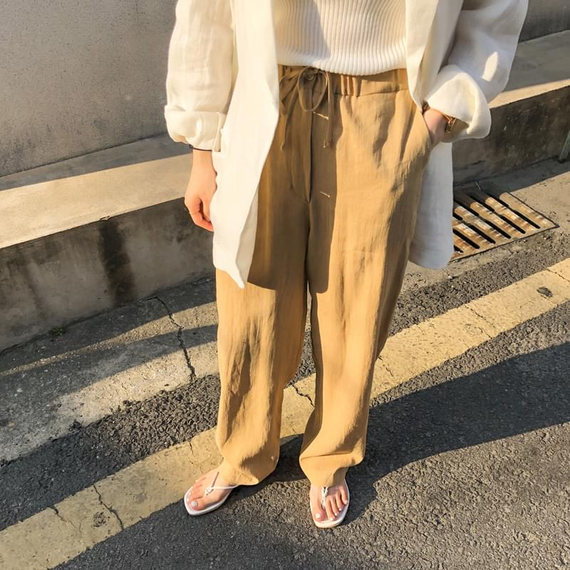 Linen wide banding pants Jean Beige