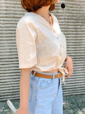Linen sand crop blouse