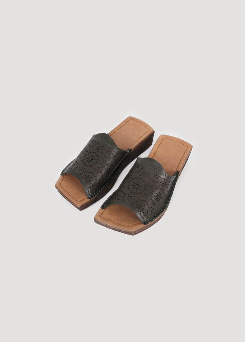 Platform punching sandals