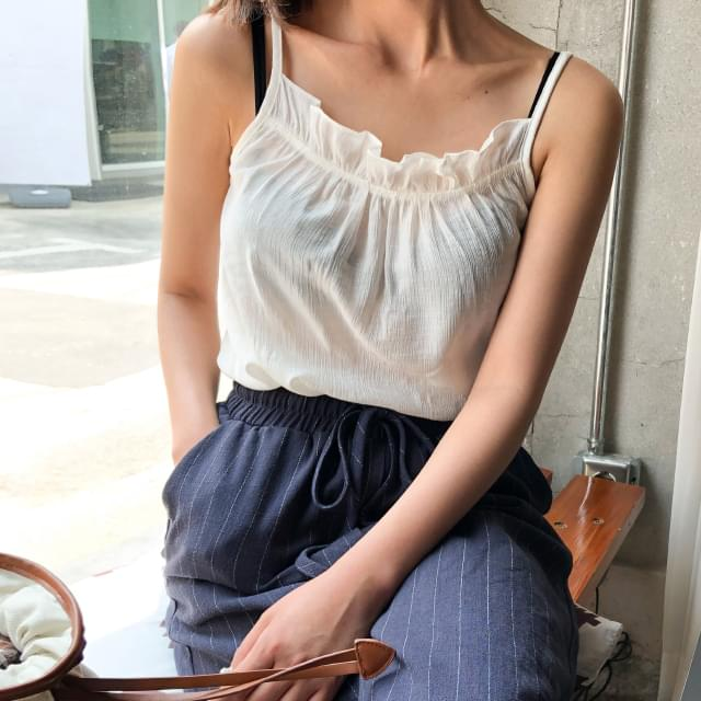 linen shirring sleeveless