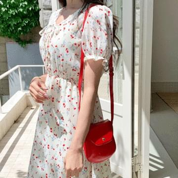 Red Flower Puff Dress
