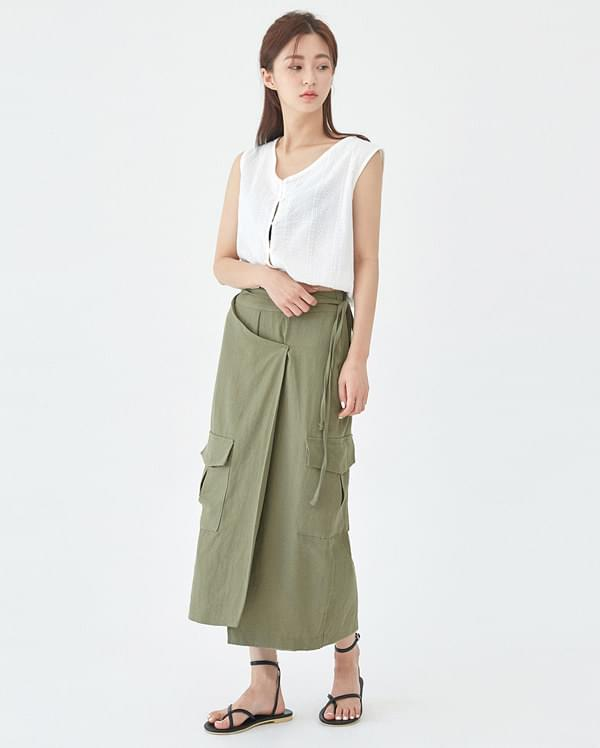 basket wrap long skirt