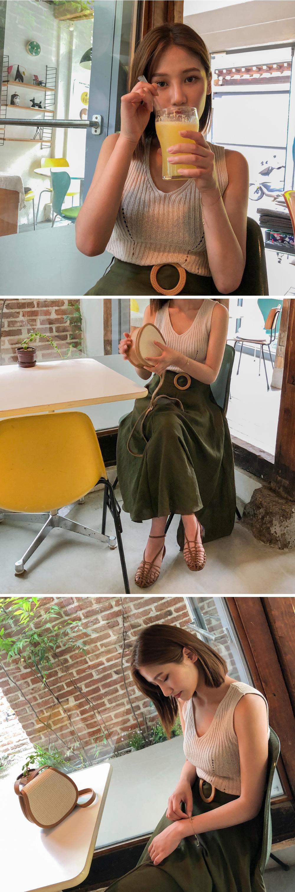 belt A-line long skirt
