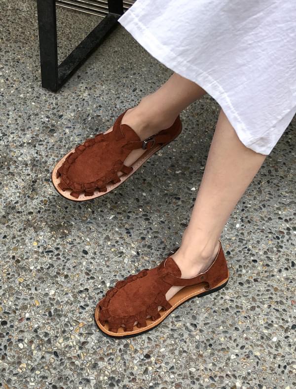 fake suede knots sandal