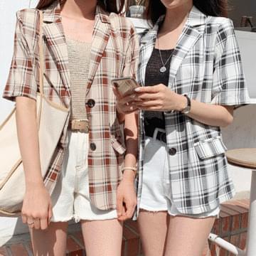 Check linen short-sleeved jacket
