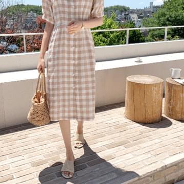 Brun check linen long dress
