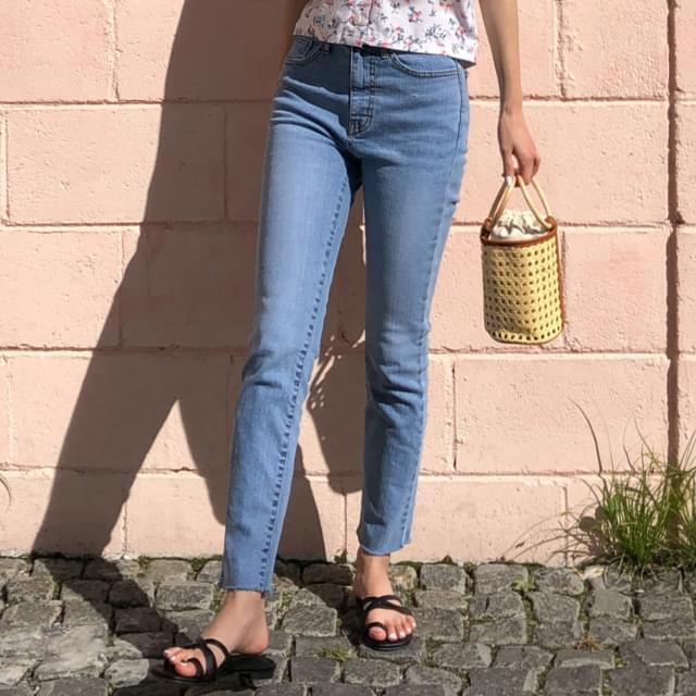 Hem Cutting Slim Span Jeans-pt