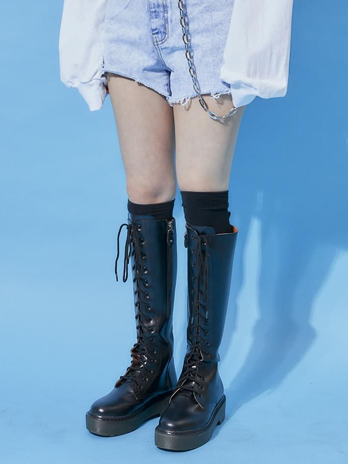platform leather long walker boots