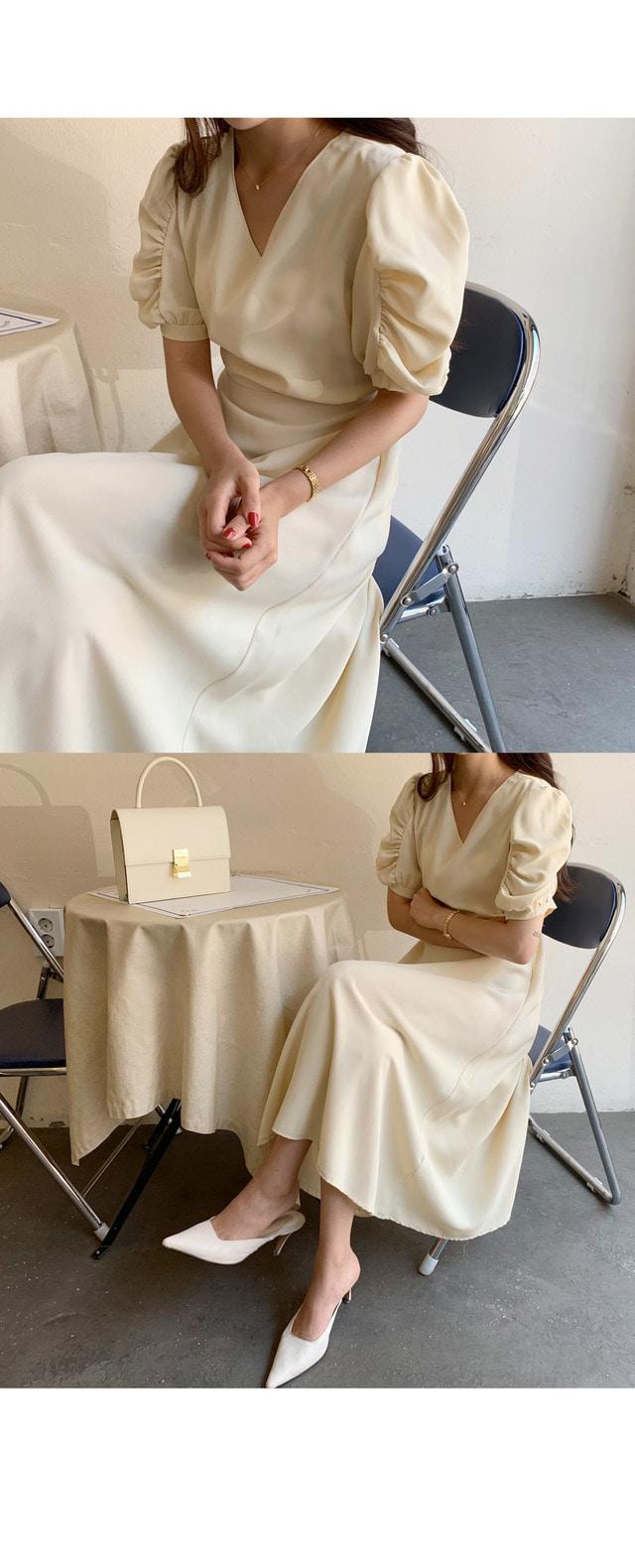 Ani Shirring Puff Long Dress