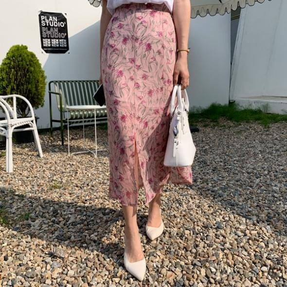 Mix flower slit long skirt