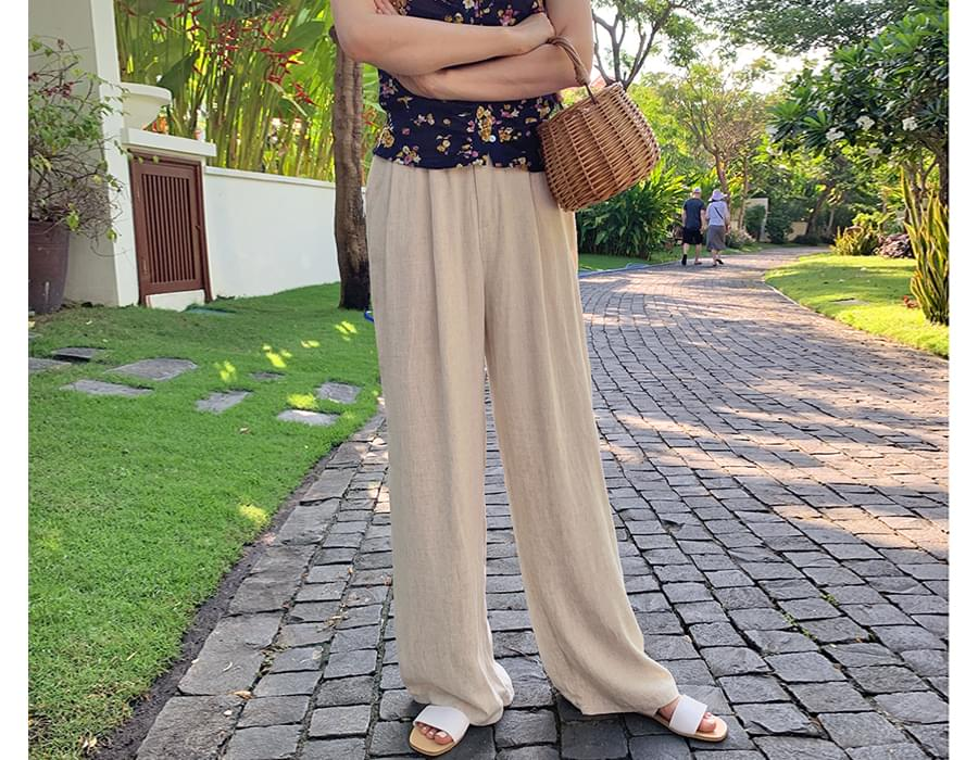 Wide linen pin-tuck pants_S  (size : free)