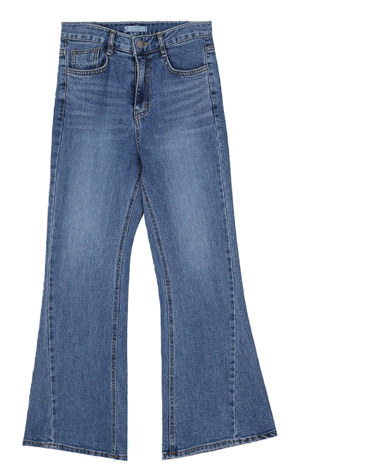 washed blue boots-cut pants - woman