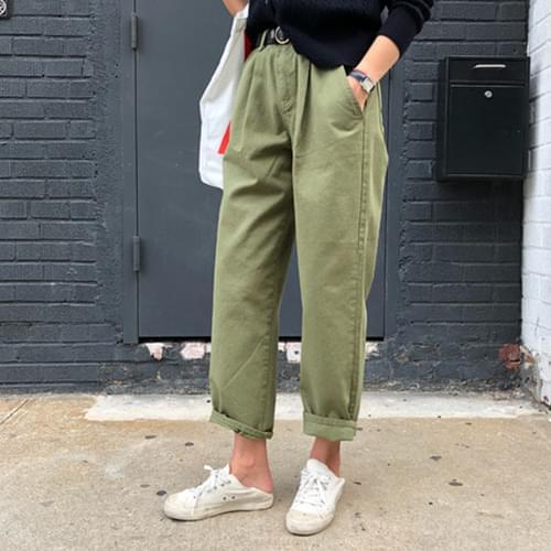 Cotton pin tuck pants