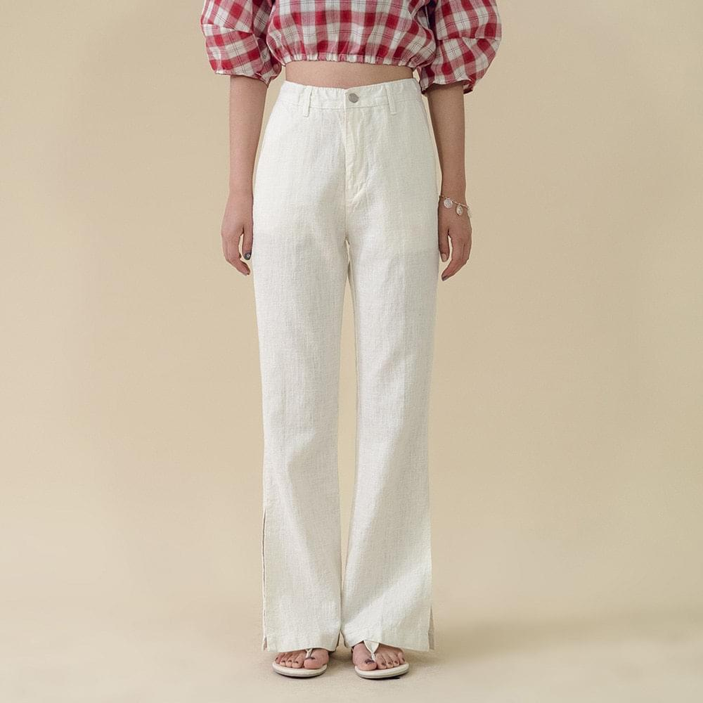 Semi-boot cut linen pants