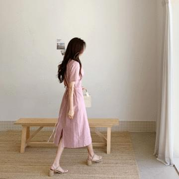 Linen shearing strap dress