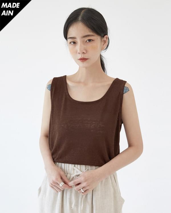 FRESH A linen square sleeveless