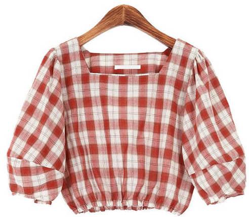 Check pattern crop blouse