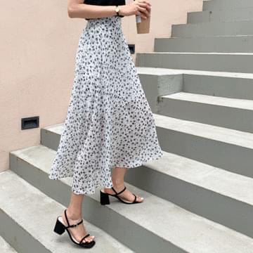 Melted chiffon long skirt
